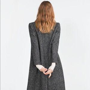 Zara wool long herringbone tweed pea coat